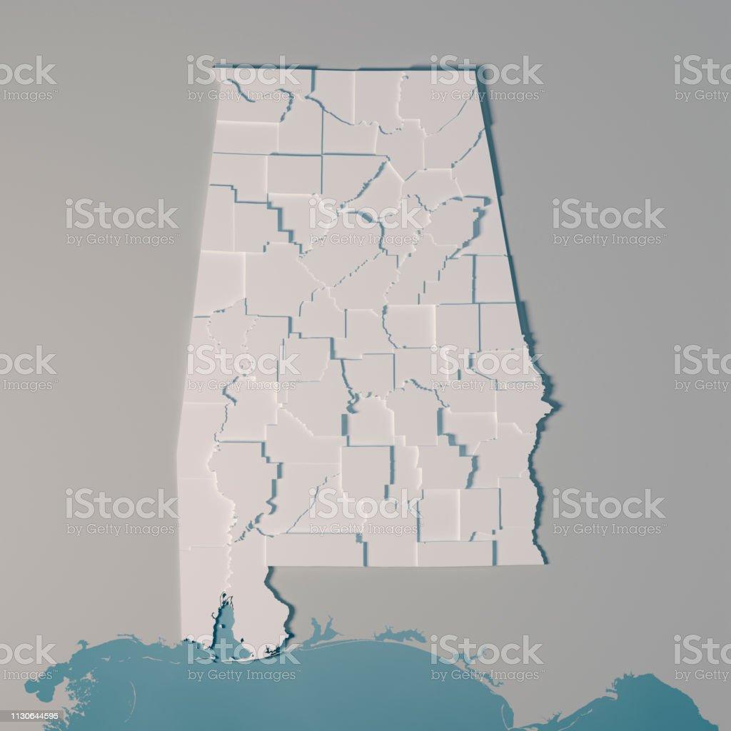 3D Render of an US State map of Alabama with the Administrative...