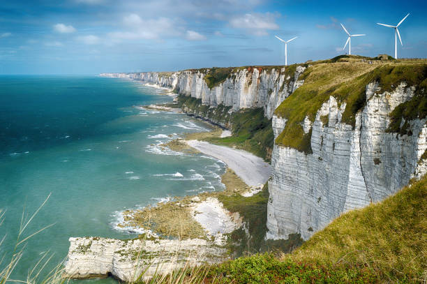 alabaster cliffs. normandy, france. - english channel stock pictures, royalty-free photos & images