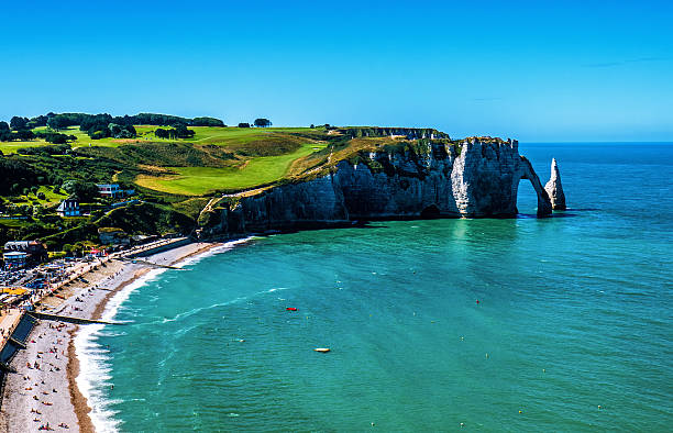 Alabaster Coast in Normandy landscape Alabaster Coast in Normandy landscape dieppe france stock pictures, royalty-free photos & images