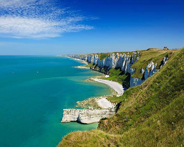 Alabaster Coast on the Atlantic Ocean near Fecamp, France, Normandy stock photo