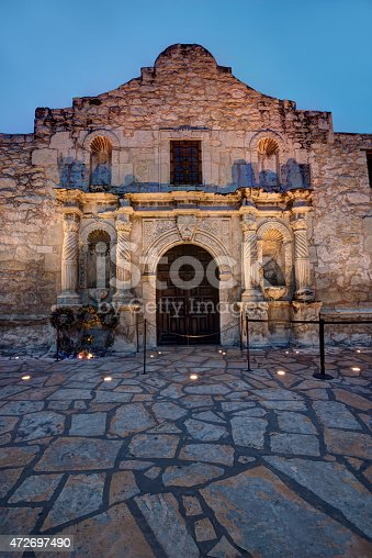The famous Alamo at twilight in HDR.