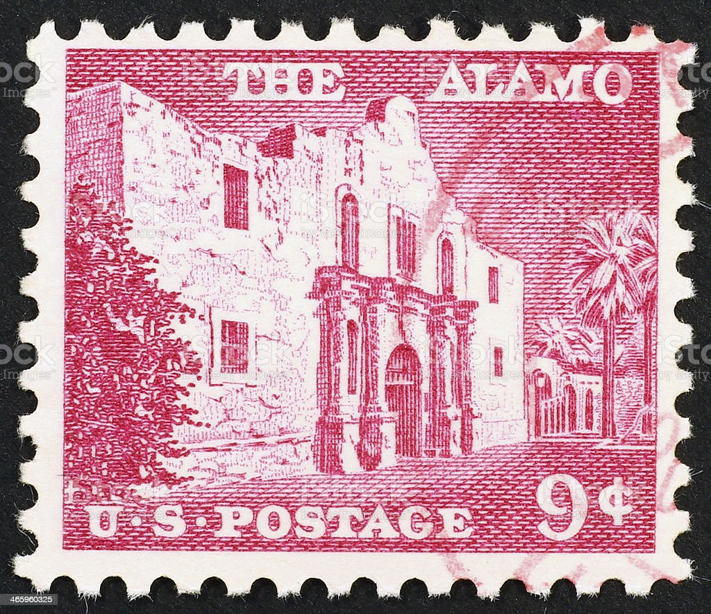 Alamo mission celebrated on a vintage american stamp stock photo