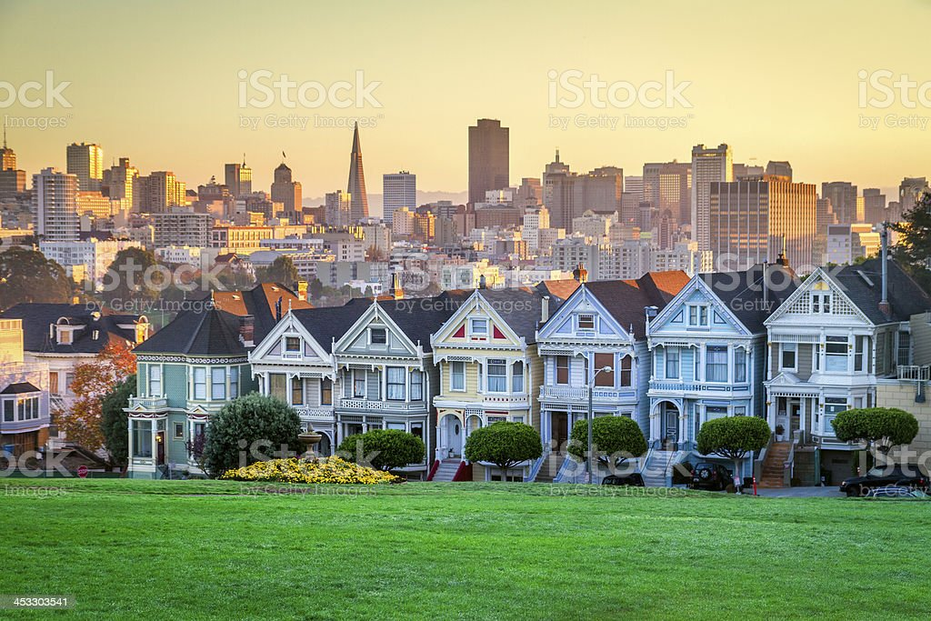 Alamo square and Painted Ladies with San Francisco skyline royalty-free stock photo