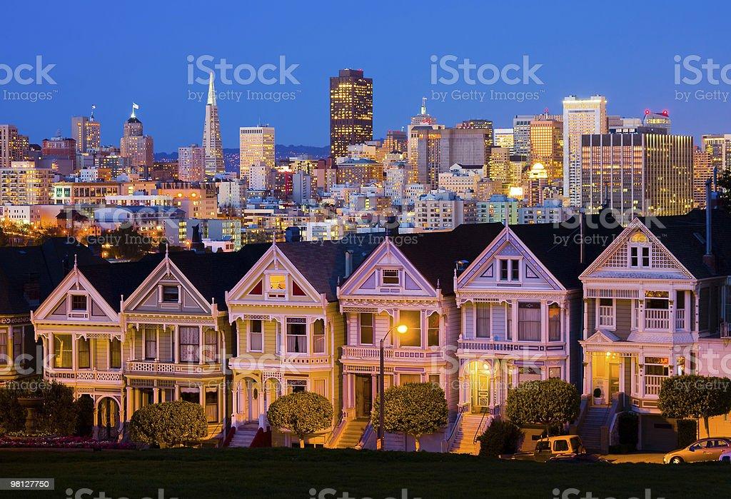 Alamo Square in San Francisco at night royalty-free stock photo