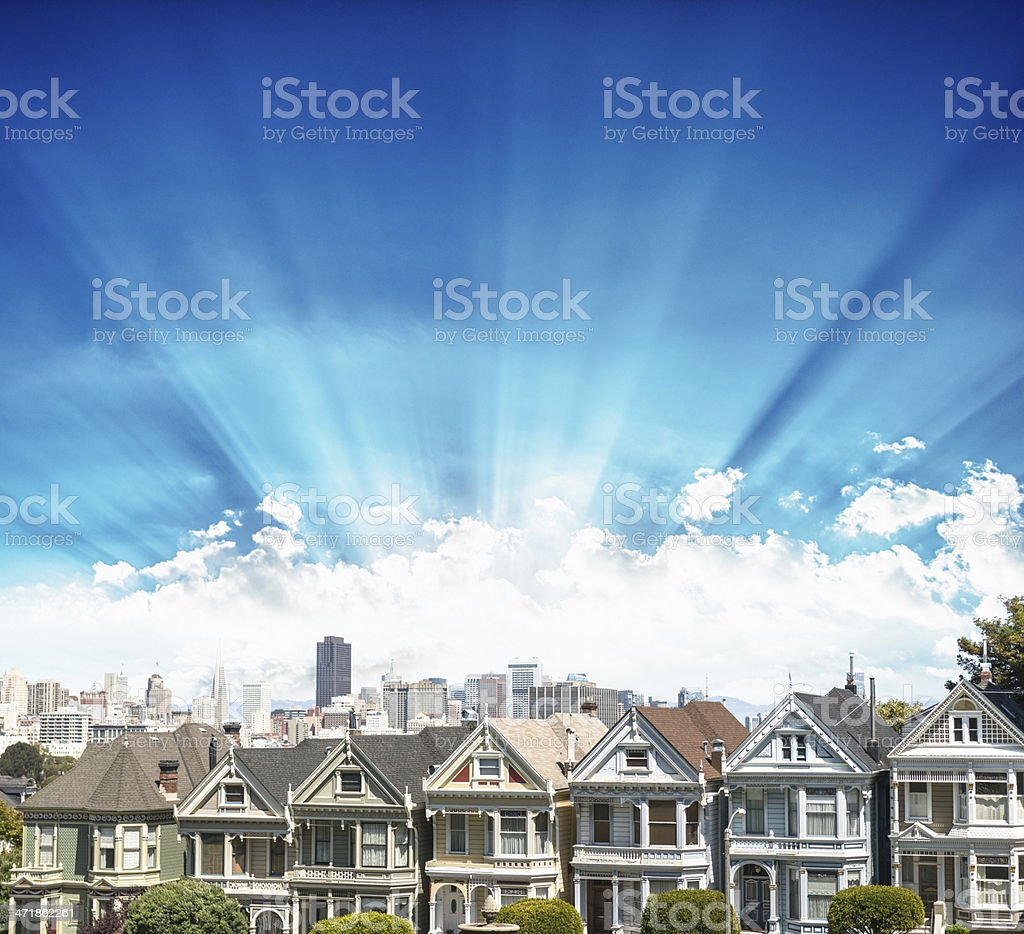 Alamo Square with a fancy sky - San Francisco royalty-free stock photo