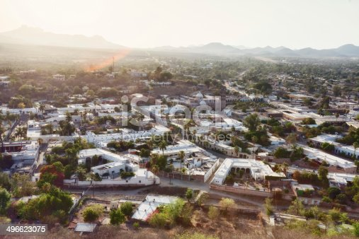 Downward looking view of the town of Alamos Sonora Mexico at Sunset