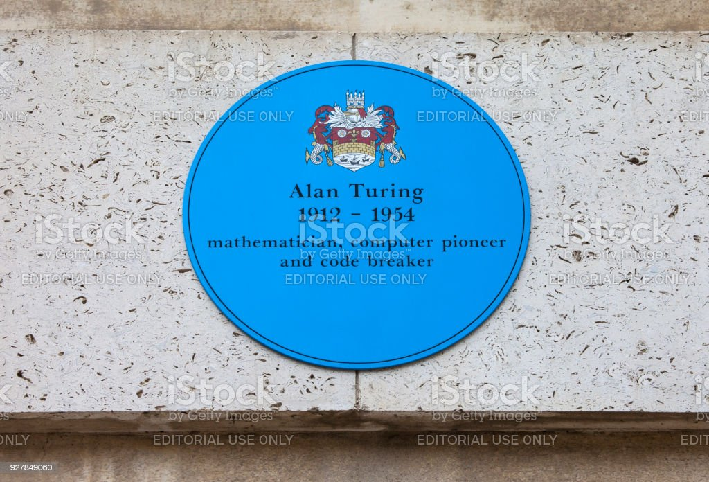Alan Turing Plaque in Cambridge, UK stock photo