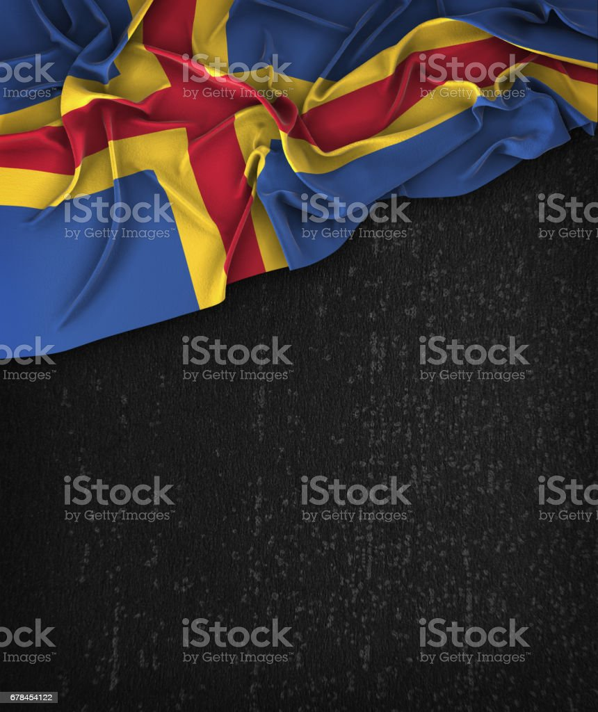 Aland Islands Flag Vintage on a Grunge Black Chalkboard With Space For Text royalty-free stock photo