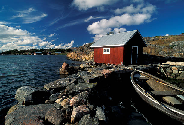 Aland red fisherman house stock photo