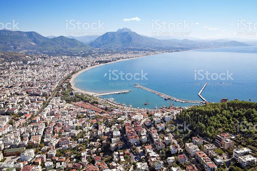 Alanya city and harbor, Turkey stok fotoğrafı