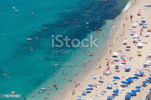 Alanya/Turkey-June 25,2019: Alanya Coast in summer. It is preferred by many local and foreign tourists for vacation.The photo was taken from the cable car descending from Alanya Castle.