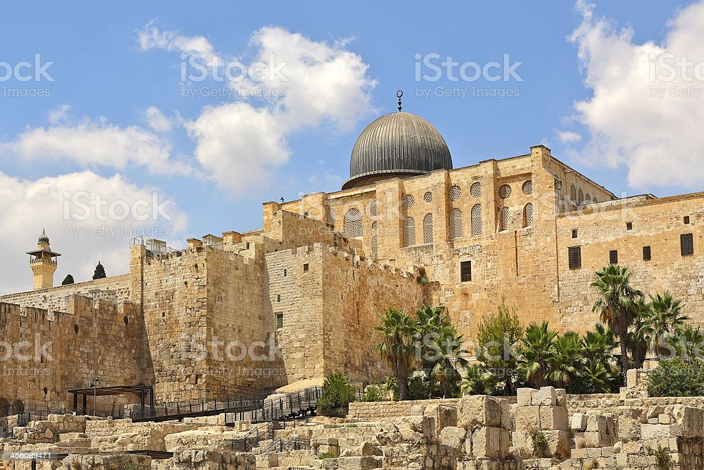Al-Aqsa dome and old ruins in Jerusalem, Israel. stock photo