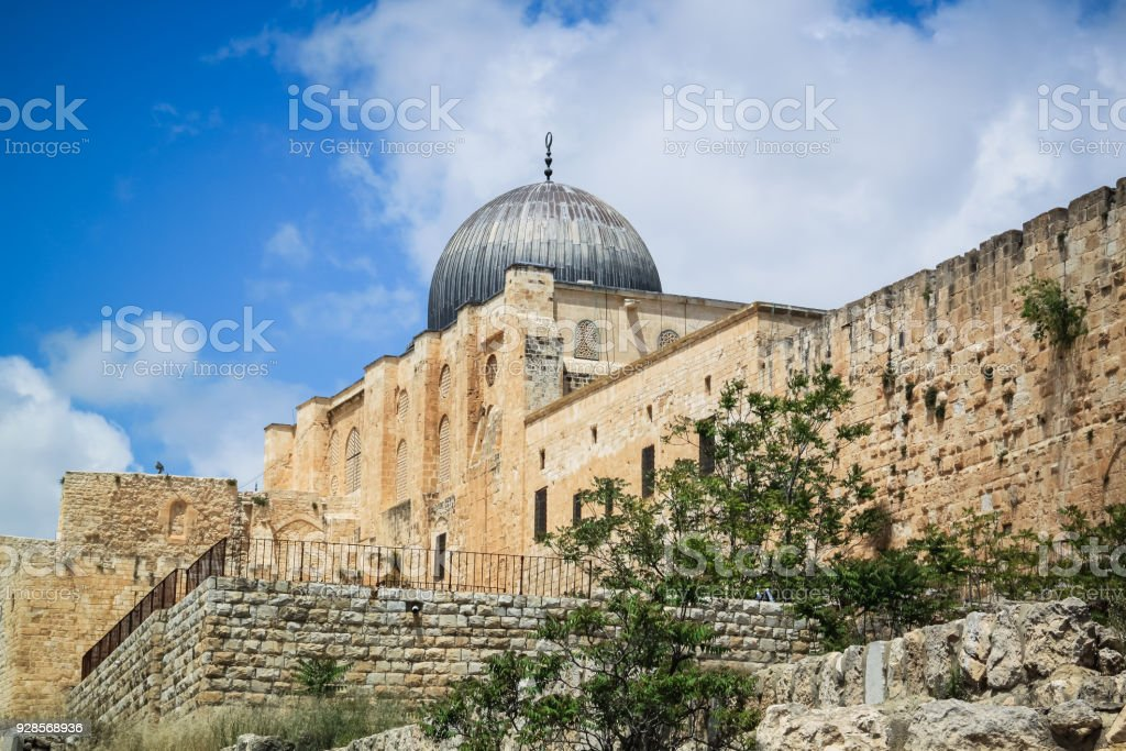 Al-Aqsa Mosque view, Tenple Mount, Old Jerusalem stock photo