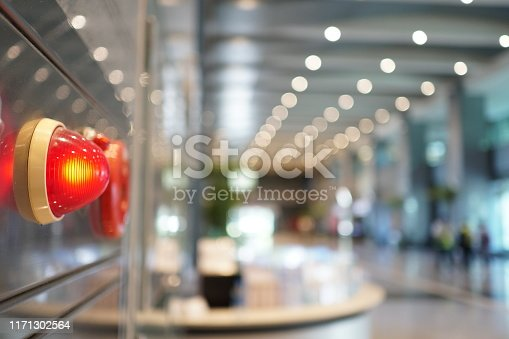 istock Alarm bells and warning lights for avoiding fire. In public areas. 1171302564