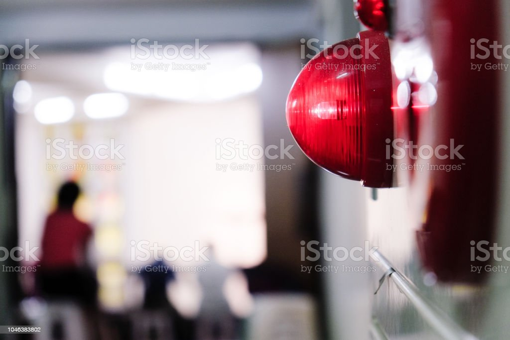 Alarm bells and warning lights for avoiding fire. In public areas such as the MRT, railway stations, high-speed rail, and airports.In Asia. royalty-free stock photo