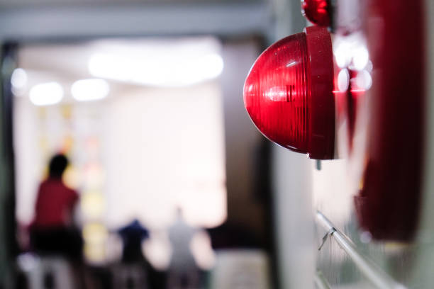 Alarm bells and warning lights for avoiding fire. In public areas such as the MRT, railway stations, high-speed rail, and airports.In Asia. Concept of fire, water, water, warning, danger, building, fire, fire extinguisher accidents and disasters stock pictures, royalty-free photos & images