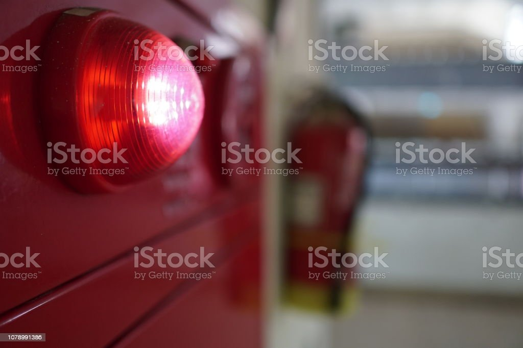 Alarm bells and warning lights for avoiding fire. Imagery about fire, escape, alarm. Abstract Stock Photo