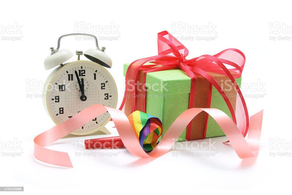 Alarm Clock and Gift Box stock photo