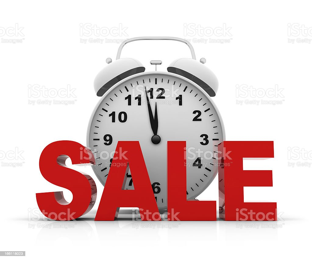 Alarm Clock and Sale royalty-free stock photo