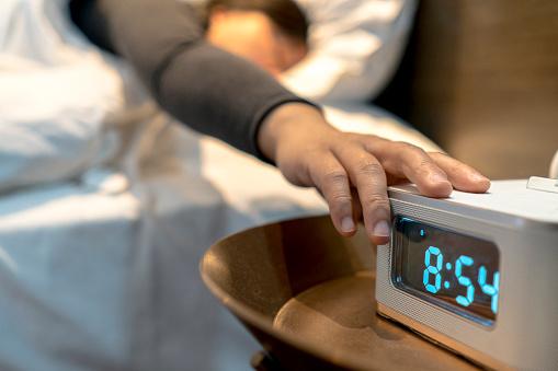 alarm clock at bedside