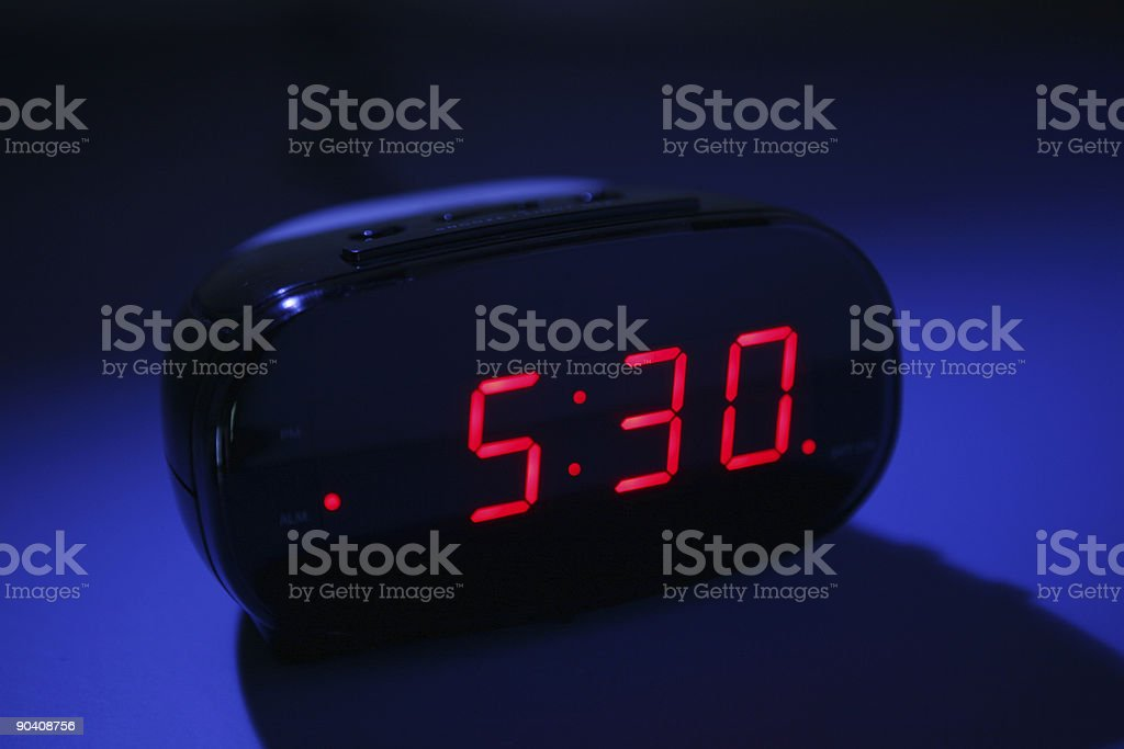 Alarm clock at night stock photo