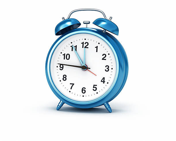 alarm clock blue isolated background - alarm clock stock photos and pictures