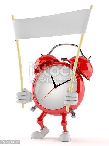 istock Alarm clock character holding blank banner 825113114
