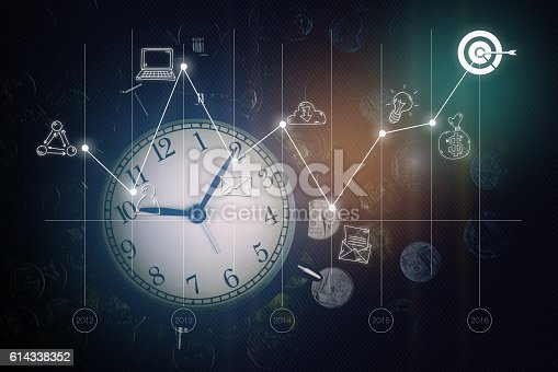 istock Alarm clock, coins, graph and business icons. business strategy 614338352