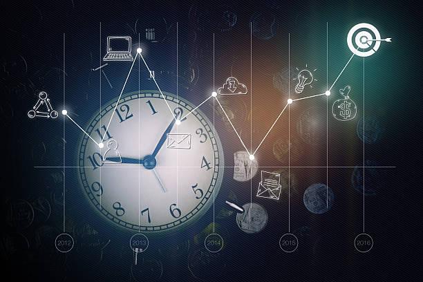 sveglie, monete, grafici e icone aziendali. strategia aziendale - mercato luogo per il commercio foto e immagini stock
