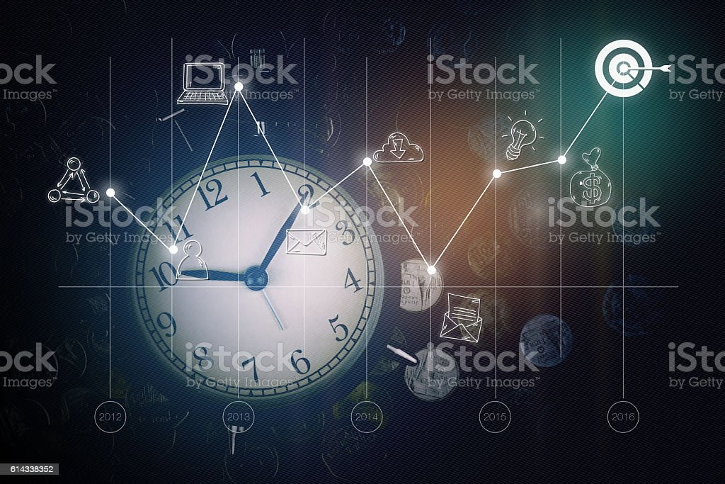 Alarm clock, coins, graph and business icons. business strategy stock photo