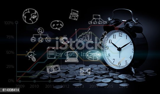 614338352istockphoto Alarm clock, coins, graph and business icons. business strategy 614338414