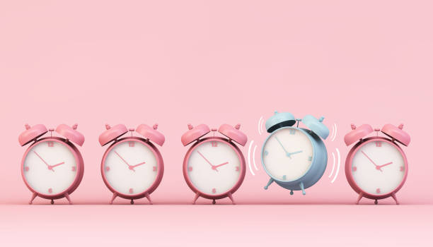 alarm clock collection alarm clock collection with one ringing 3d rendering detach stock pictures, royalty-free photos & images