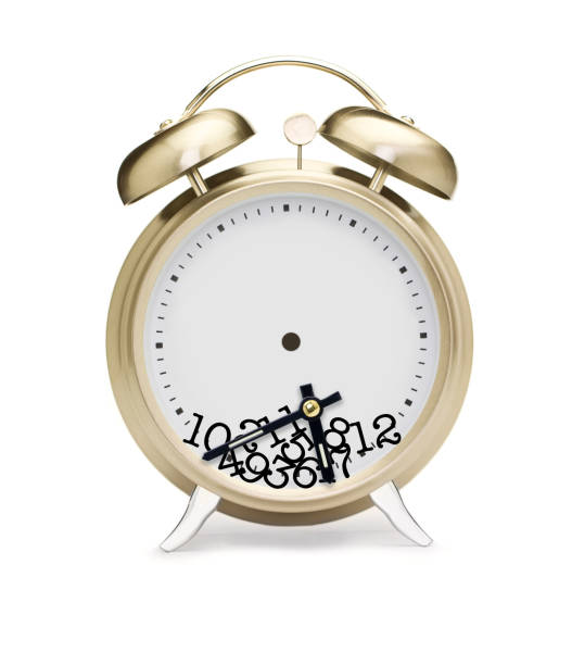 Alarm clock concept with scrambled, random numbers stock photo
