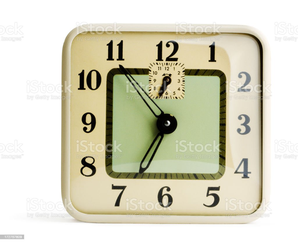 Alarm Clock, Deco Style Antique Time Piece, Isolated on White royalty-free stock photo