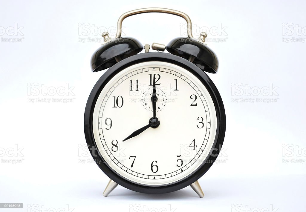 Alarm clock eight o'clock stock photo