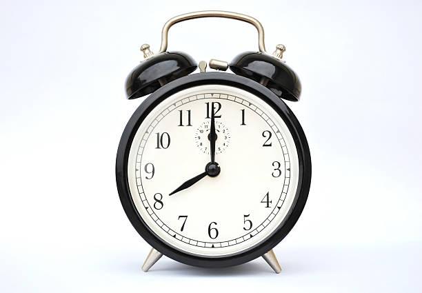 Alarm clock eight o'clock stock photo