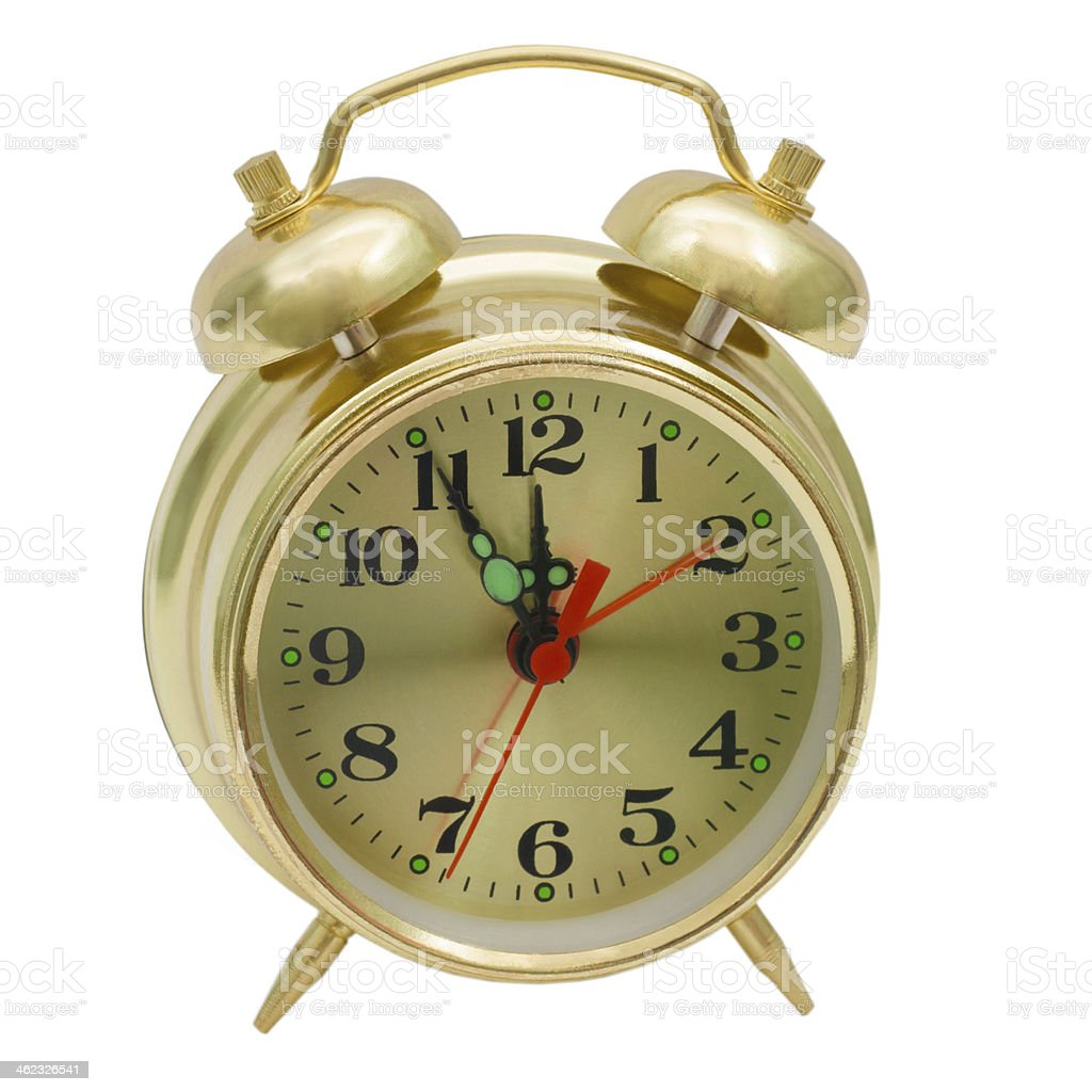 alarm clock gold isolated (clipping path) stock photo