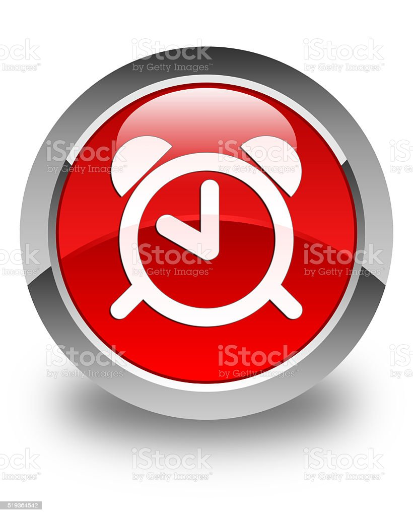 Alarm Clock Icon Glossy Red Round Button Stock Photo & More