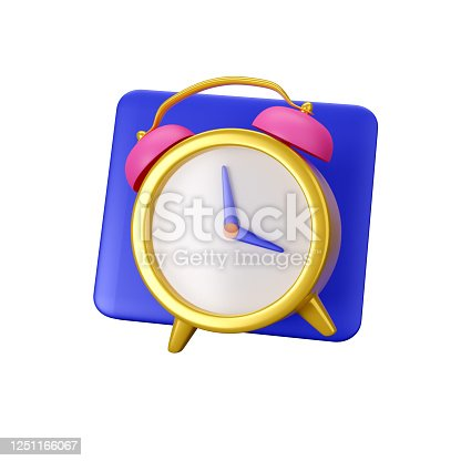 Alarm clock icon isolated on white background. 3d render