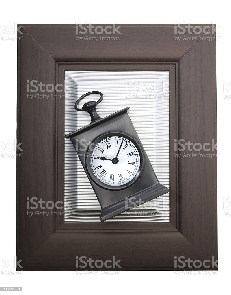 Alarm clock in a frame royalty-free stock photo