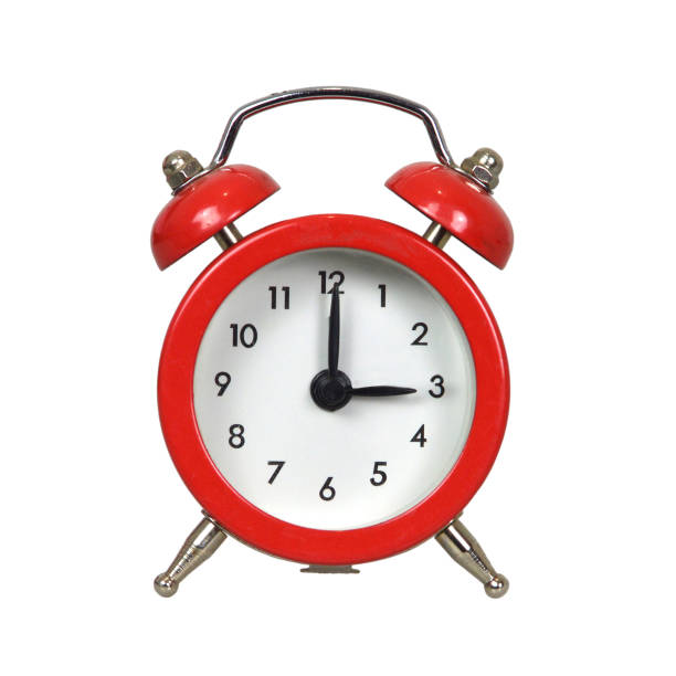 alarm clock isolated on white background - alarm clock stock photos and pictures