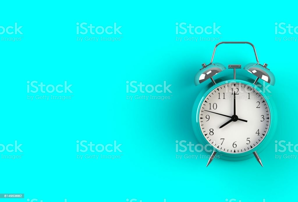 Alarm clock on blue background, 3D rendering stock photo