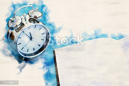 istock alarm clock on blue table with notepad in watercolors 1141996223