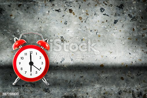 Alarm Clock On Concrete Background Stock Photo & More Pictures of Alarm Clock