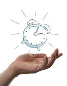 alarm clock on hand