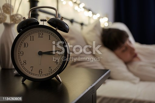 istock Alarm Clock on Night Table 1134263925