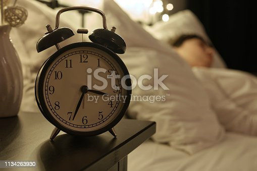 istock Alarm Clock on Night Table 1134263930