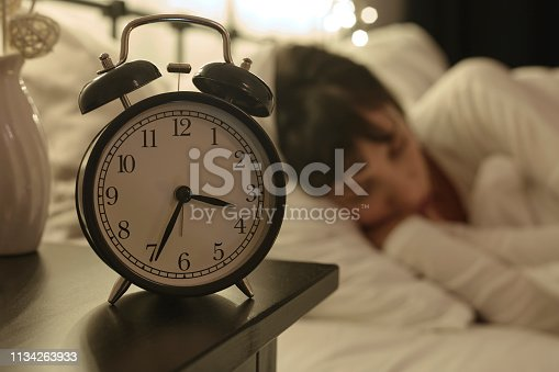 istock Alarm Clock on Night Table 1134263933