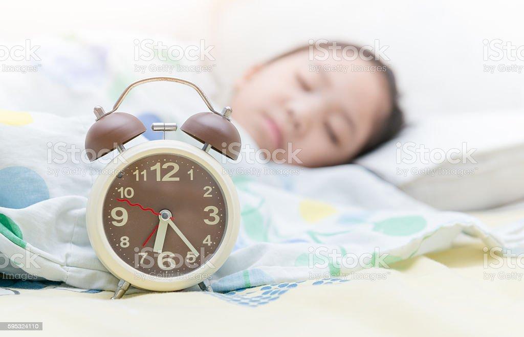 alarm clock on six o'clock - foto de acervo