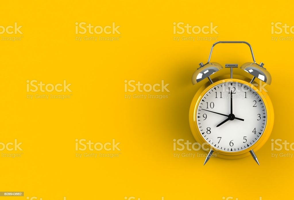 Alarm clock on yellow background, 3D rendering - foto stock